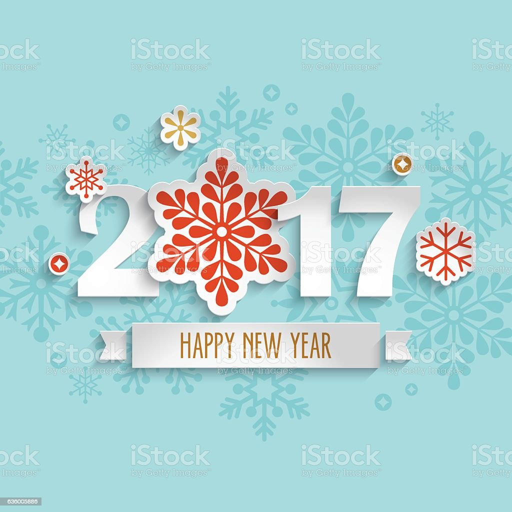 Happy New Year 2017 Design With Paper Cut Snowflakes Stock Vector