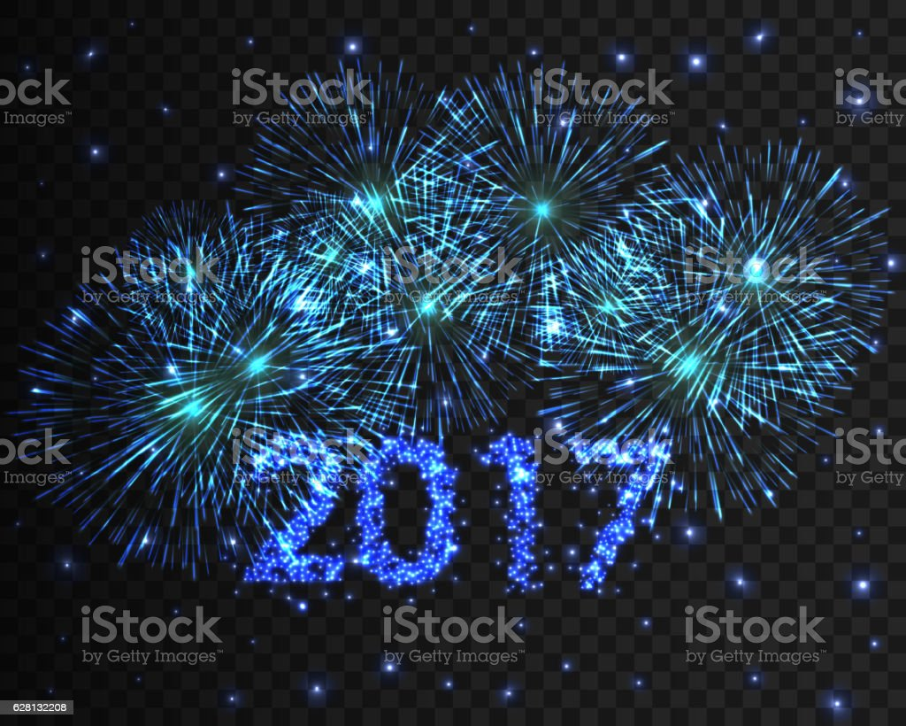 happy new year 2017 firework background greeting card with particle royalty free happy new