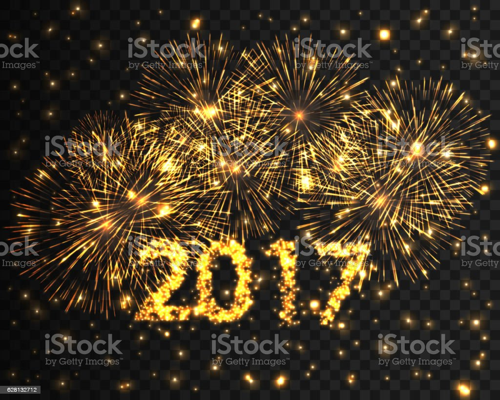 happy new year 2017 firework background greeting card with particle royalty free stock vector