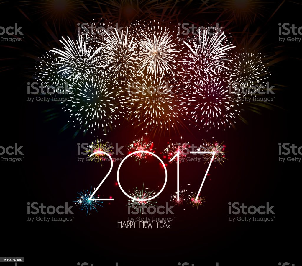 happy new year 2017 fireworks background 2017年のベクターアート