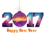 Happy new year 2017 geometrical card with Christmas ball