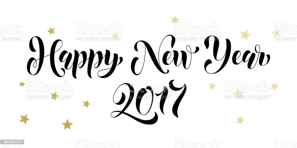 Happy New Year 2017 gold glitter card, poster Lizenzfreies happy new year 2017 gold glitter card poster stock vektor art und mehr bilder von bildhintergrund