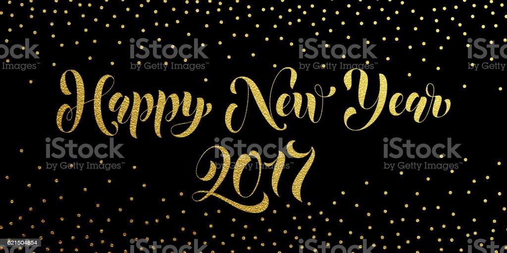 Happy New Year 2017 gold glitter card, poster happy new year 2017 gold glitter card poster – cliparts vectoriels et plus d'images de affiche libre de droits