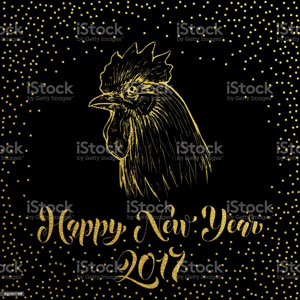 Happy New Year 2017. Gold glitter Rooster cock happy new year 2017 gold glitter rooster cock – cliparts vectoriels et plus d'images de 2017 libre de droits