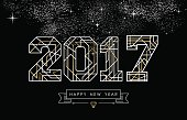 Happy New Year card design in art deco style, gold and white 2017 sign with label. EPS10 vector.