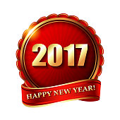happy new year 2017 golden label and stamp