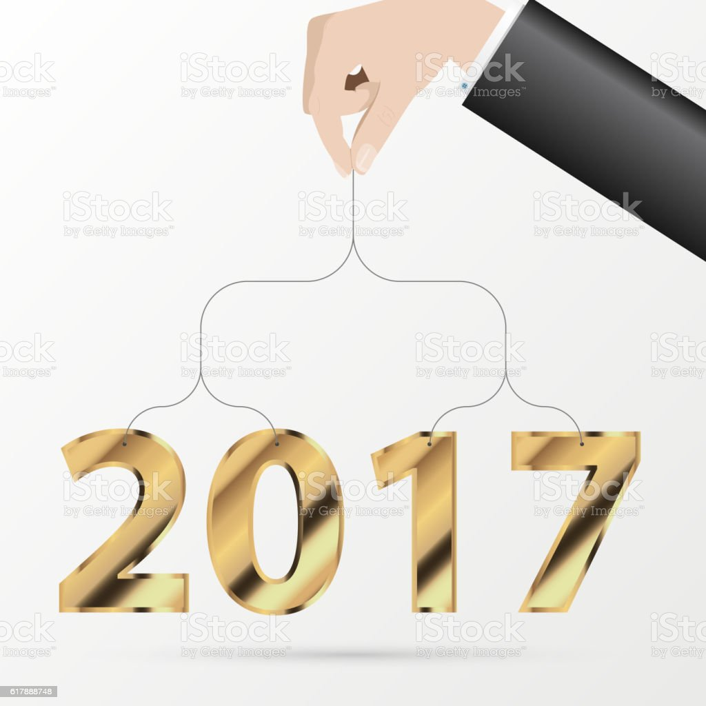 Happy New Year 2017 Greeting Card Business Style Vector Stock Vector