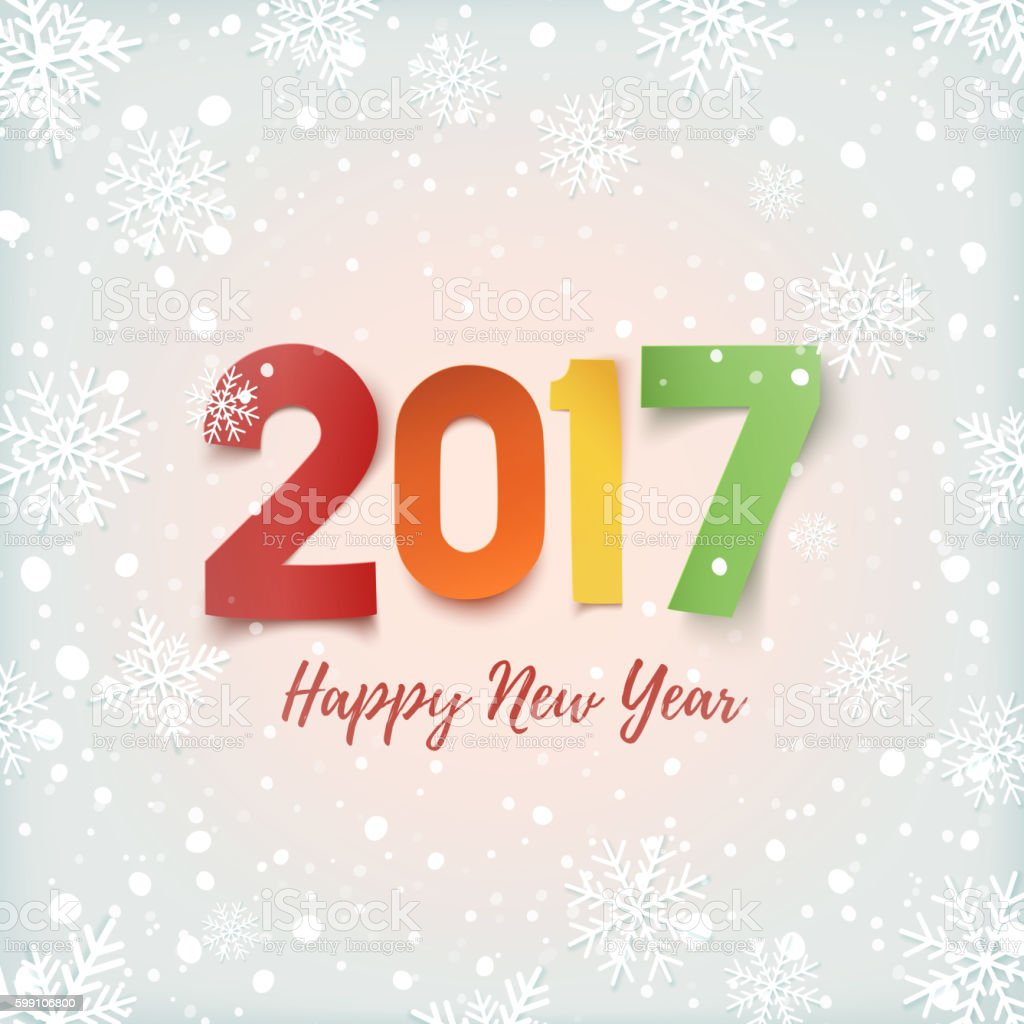 Happy New Year 2017 Greeting Card Template Stock Vector Art More
