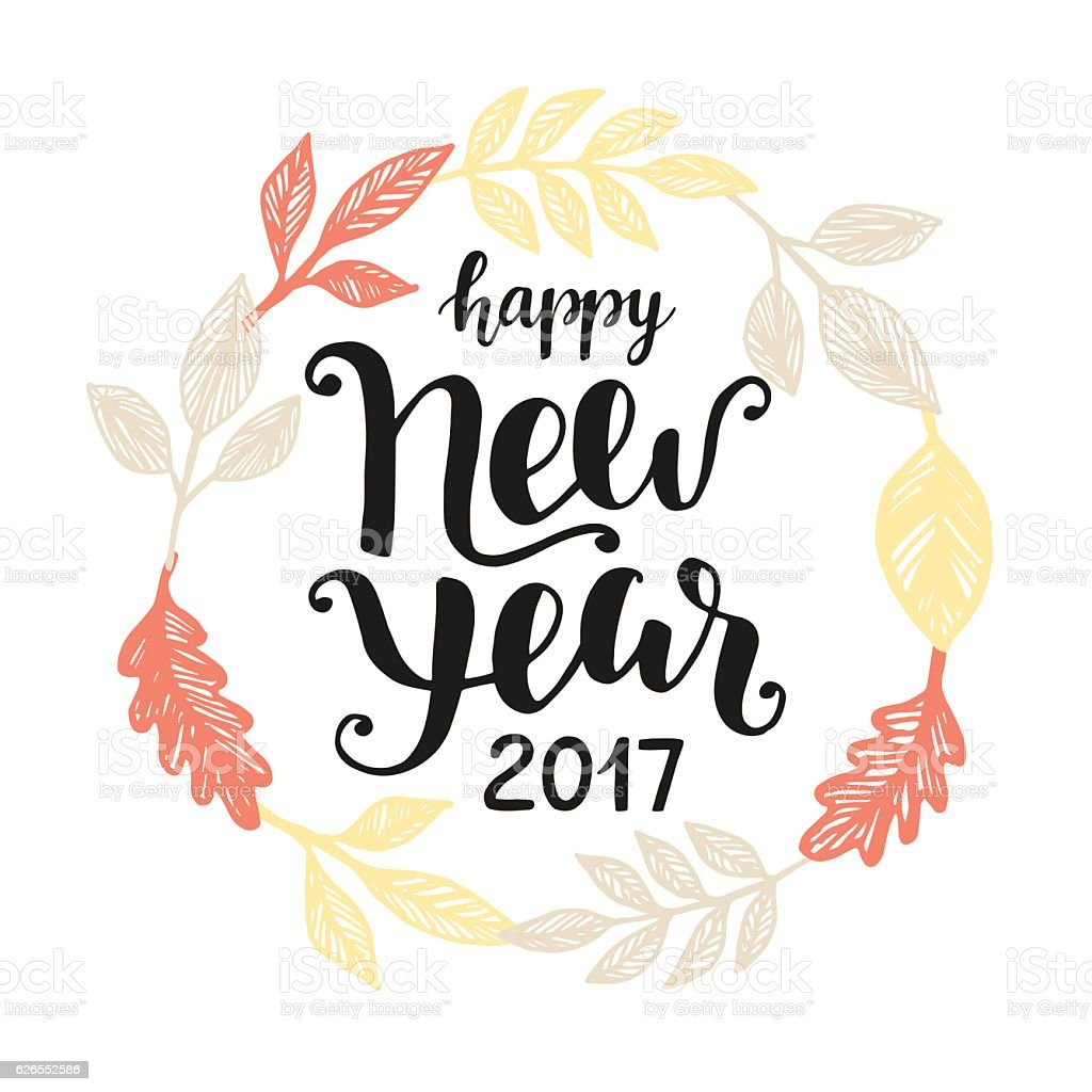Happy New Year 2017 Hand Drawn Greeting Card Stock Vektor Art Und