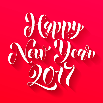 Happy New Year 2017 lettering greeting card