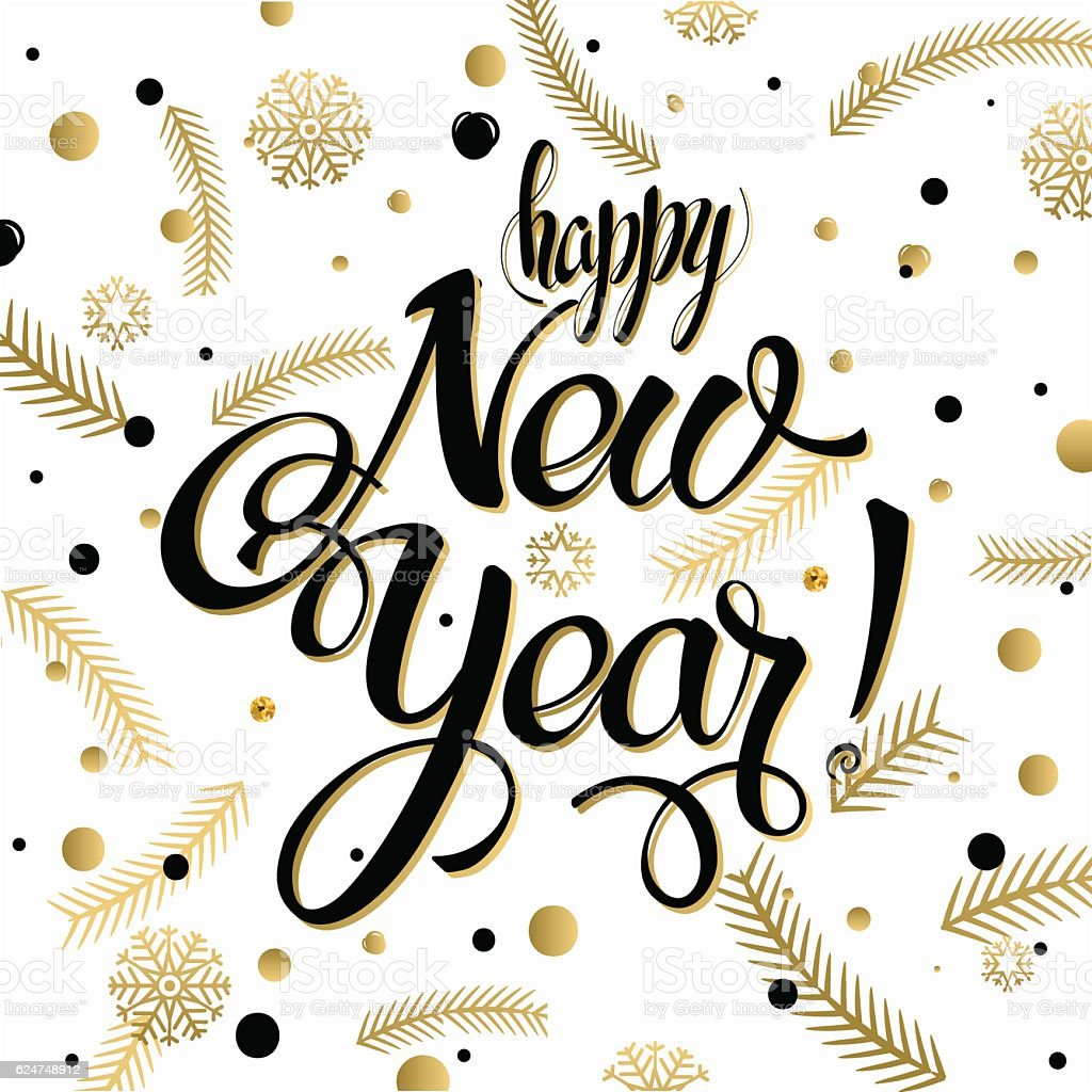 Happy new year poster calligraphy text stock vector