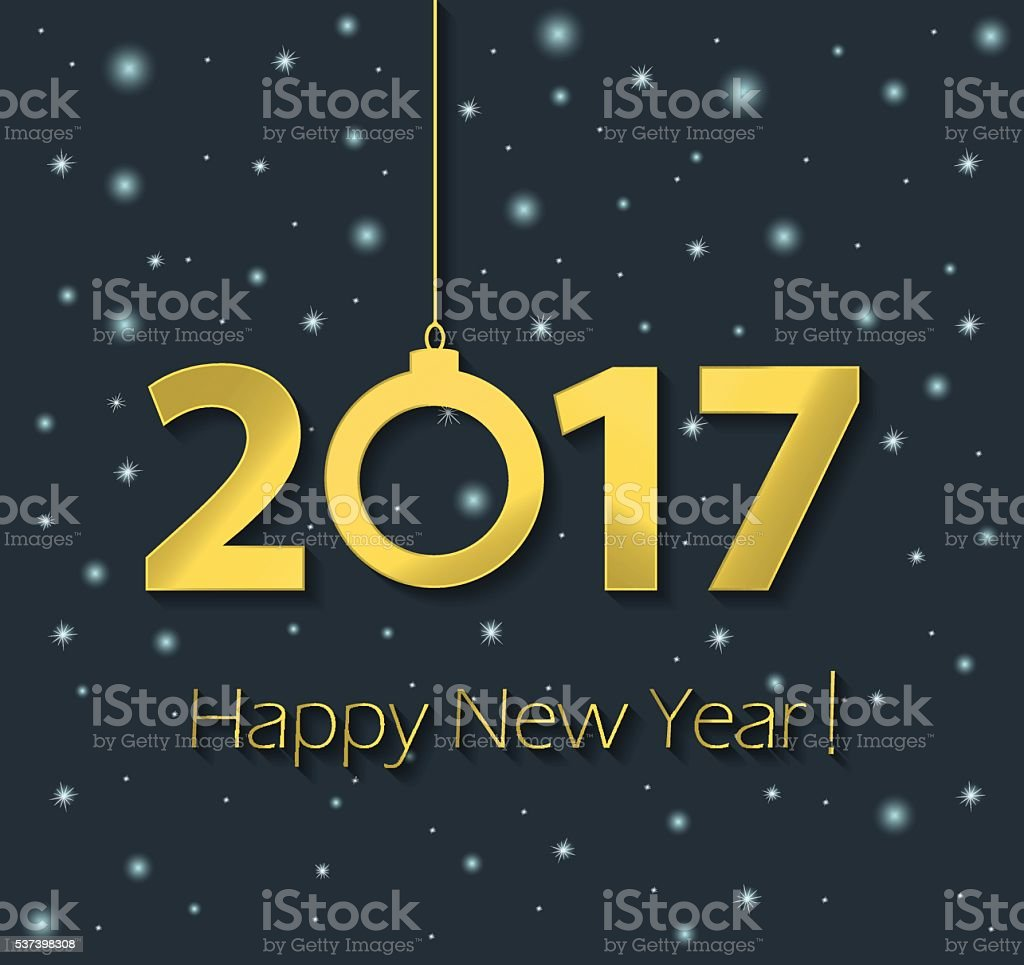 Happy New Year 2017 poster with stars vector art illustration
