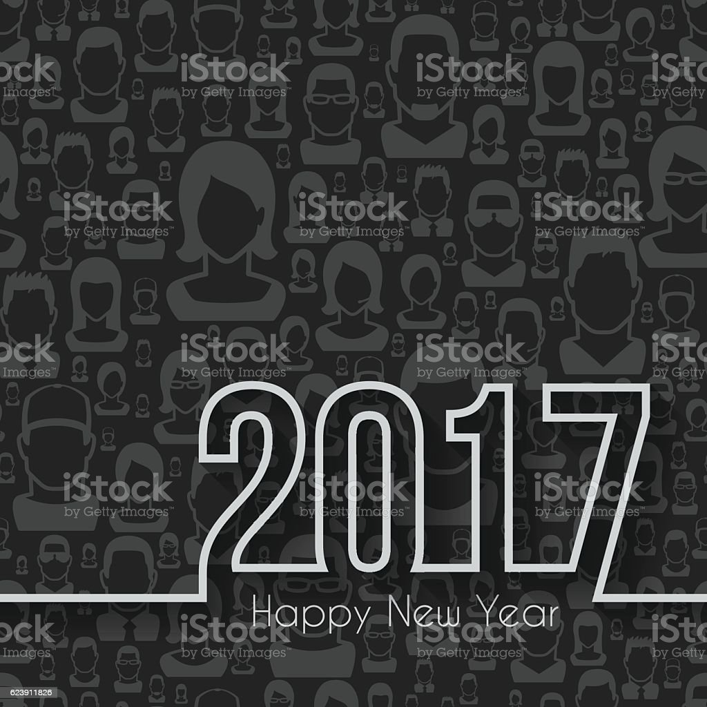 happy new year 2017 - Seamless pattern with people vector art illustration