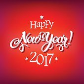 Happy New Year 2017 sign on reg background
