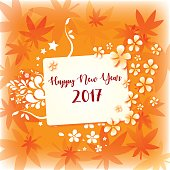 Vector of Happy New Year 2017 with floral leaf pattern background. EPS ai 10 file format.