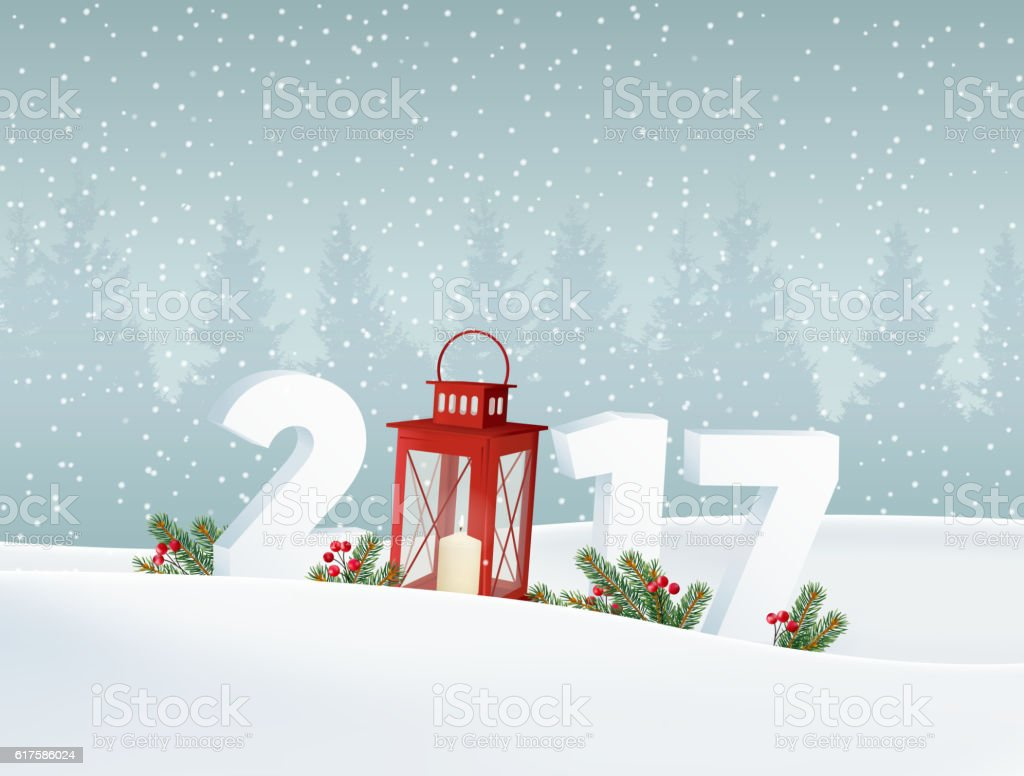 Happy new year 2017. Winter landscape with forest, numbers, snow. vector art illustration