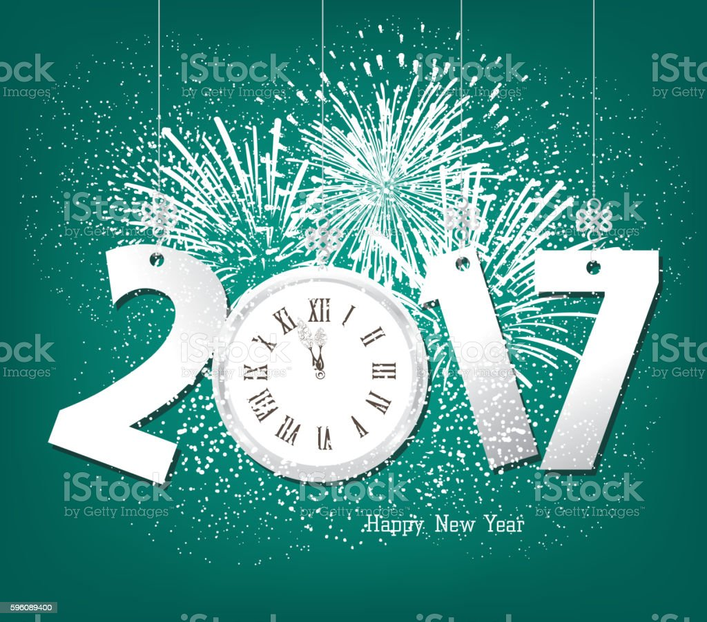 Happy New Year 2017 with clock and fireworks royalty-free happy new year 2017 with clock and fireworks stock vector art & more images of 2017
