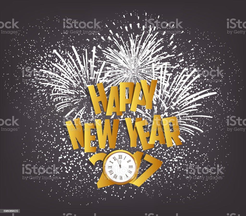 Happy New Year 2017 with clock and fireworks Lizenzfreies happy new year 2017 with clock and fireworks stock vektor art und mehr bilder von 2017