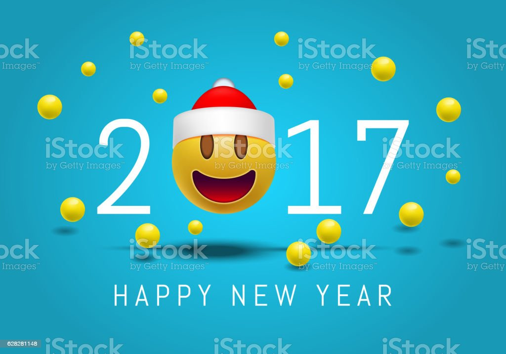 Happy New Year 2017 With Emoji Face Santa Claus Hat Stock