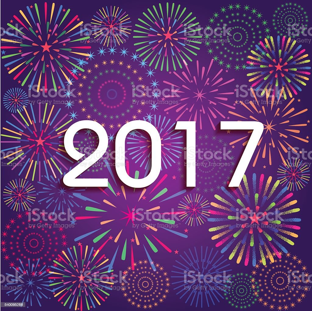 Happy New Year 2017 with fireworks background vector art illustration