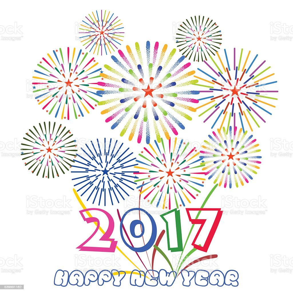 Happy New Year 2017 With Fireworks Display On White ...