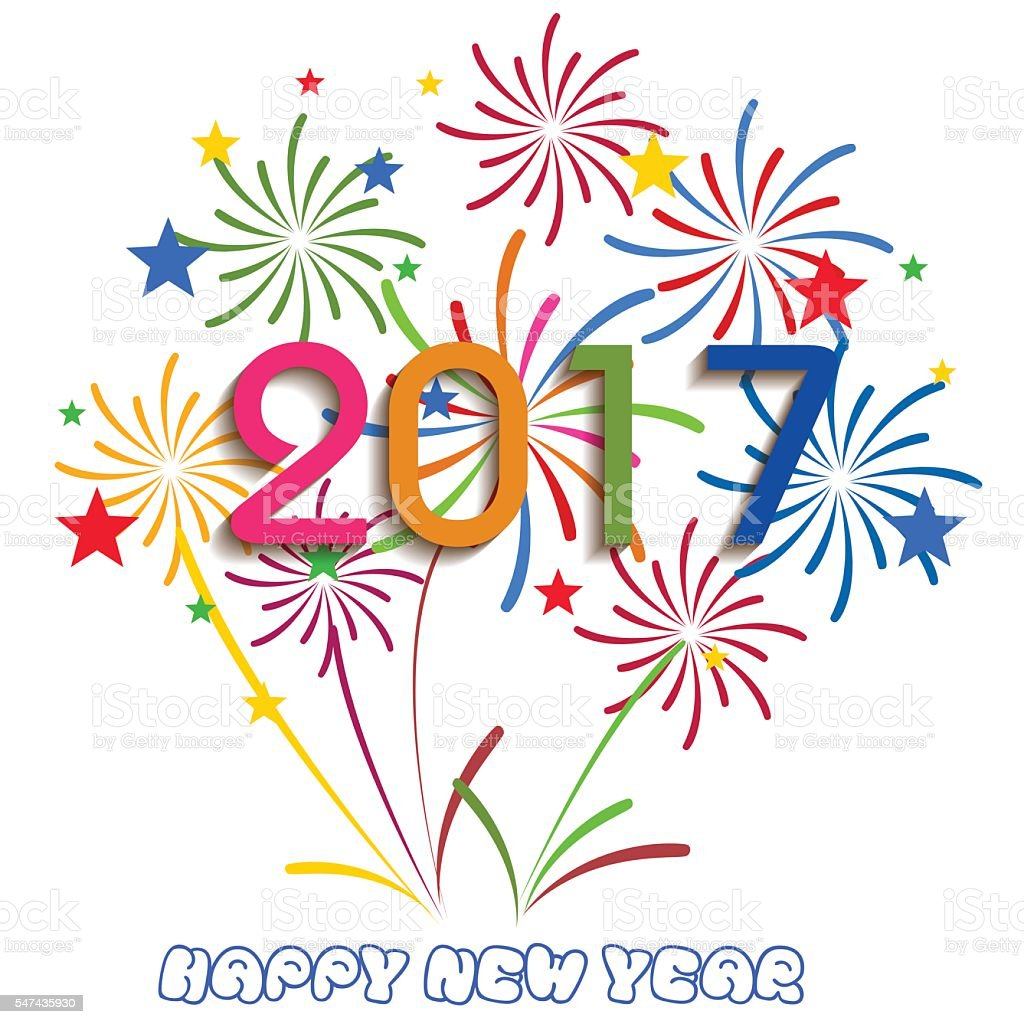 happy new year 2017 with fireworks display on white background royalty free happy new year