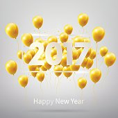 Happy New Year 2017 with gold balloons, vector illustration eps10