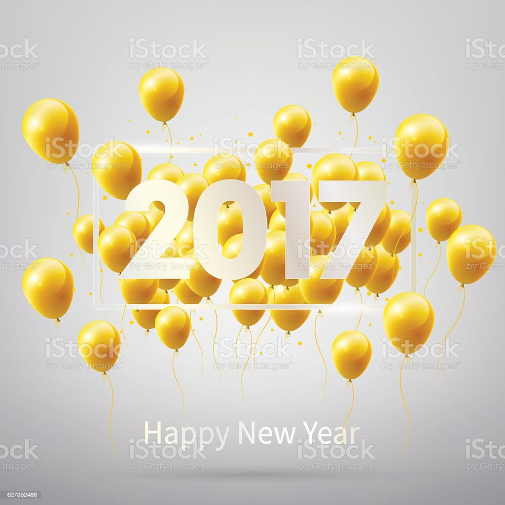 Happy New Year 2017 with gold balloons, vector illustration. vector art illustration