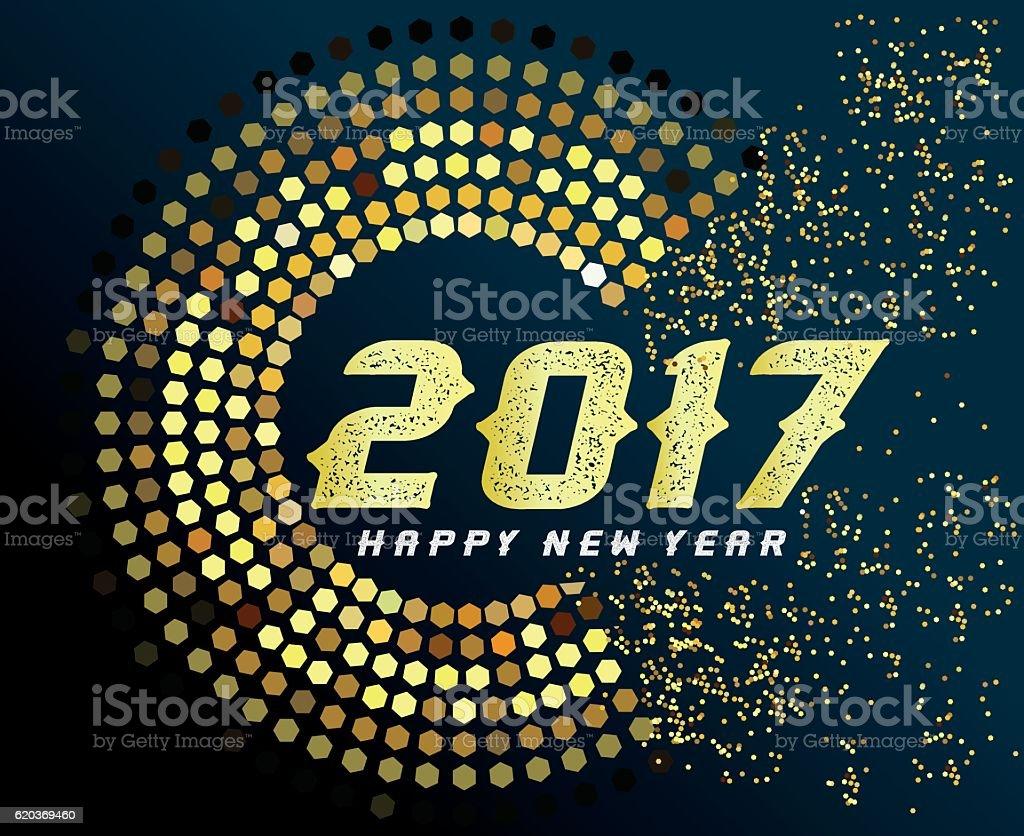 Happy new year 2017 with gold happy new year 2017 with gold - arte vetorial de stock e mais imagens de 2017 royalty-free