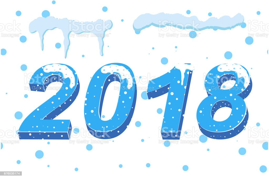 happy new year 2018 3d christmas numbers on a white background snow numbers