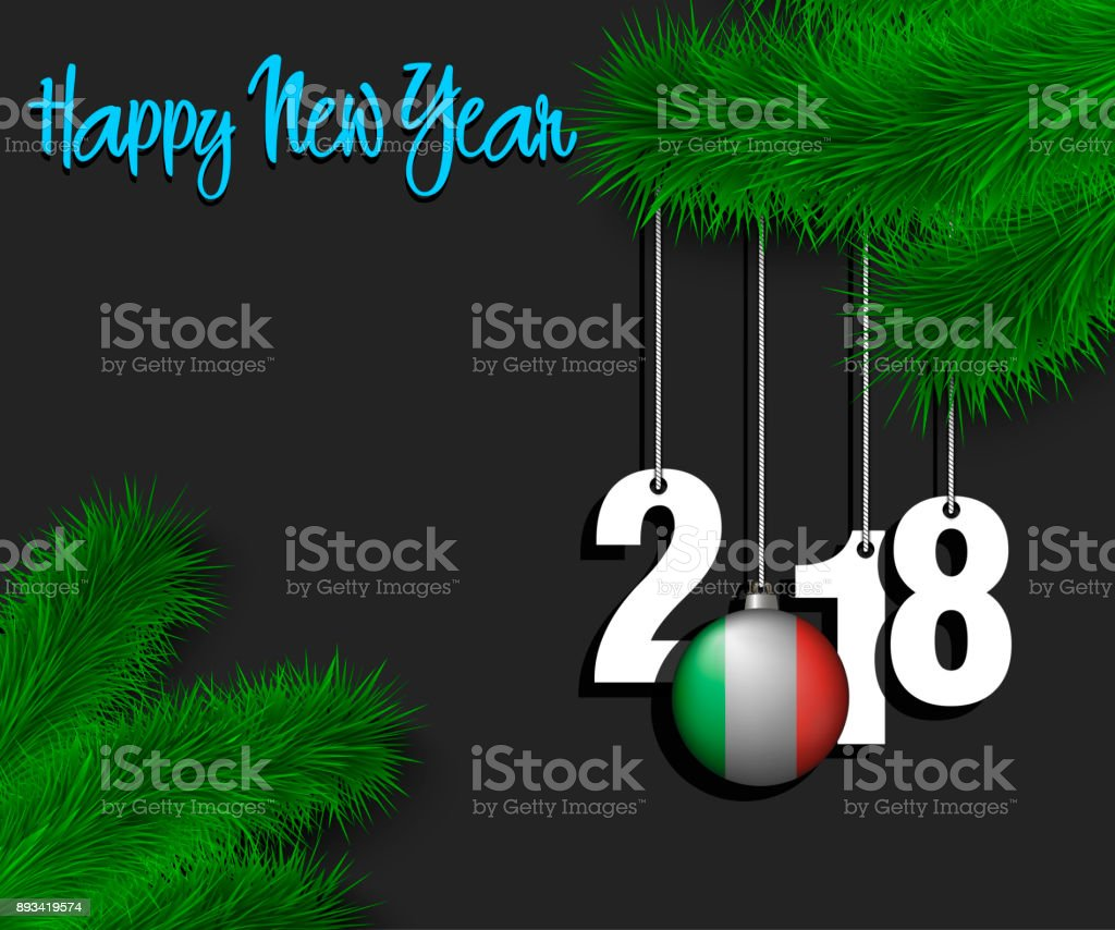 happy new year 2018 and ball with the italy flag royalty free happy new year