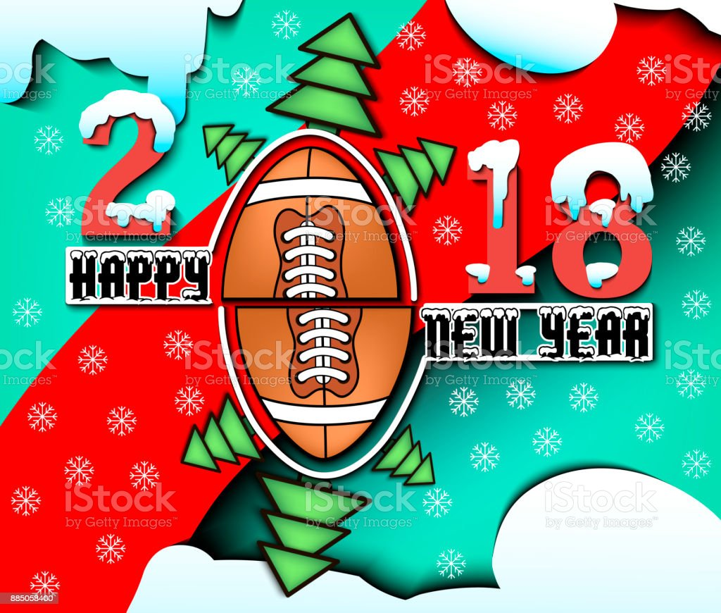 Happy New Year 2018 And Football Stock Vector Art More Images Of