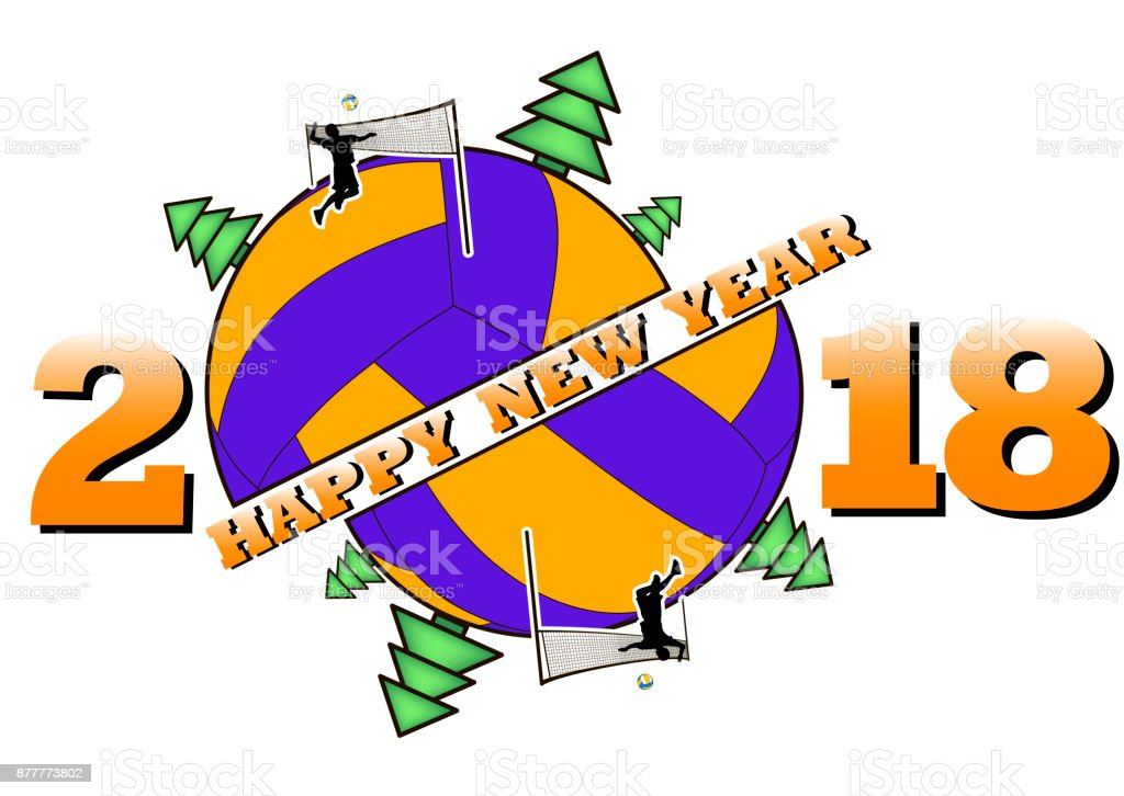 Happy New Year 2018 And Volleyball Royalty Free Happy New Year 2018 And  Volleyball Stock