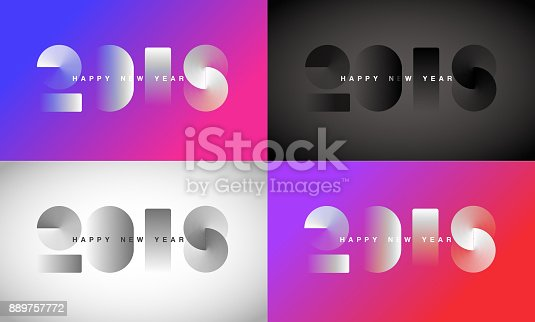 Abstract modern Happy New Year 2018 Background collection for your Christmas. EPS 10 vector illustration, contains transparencies. High resolution jpeg file included.