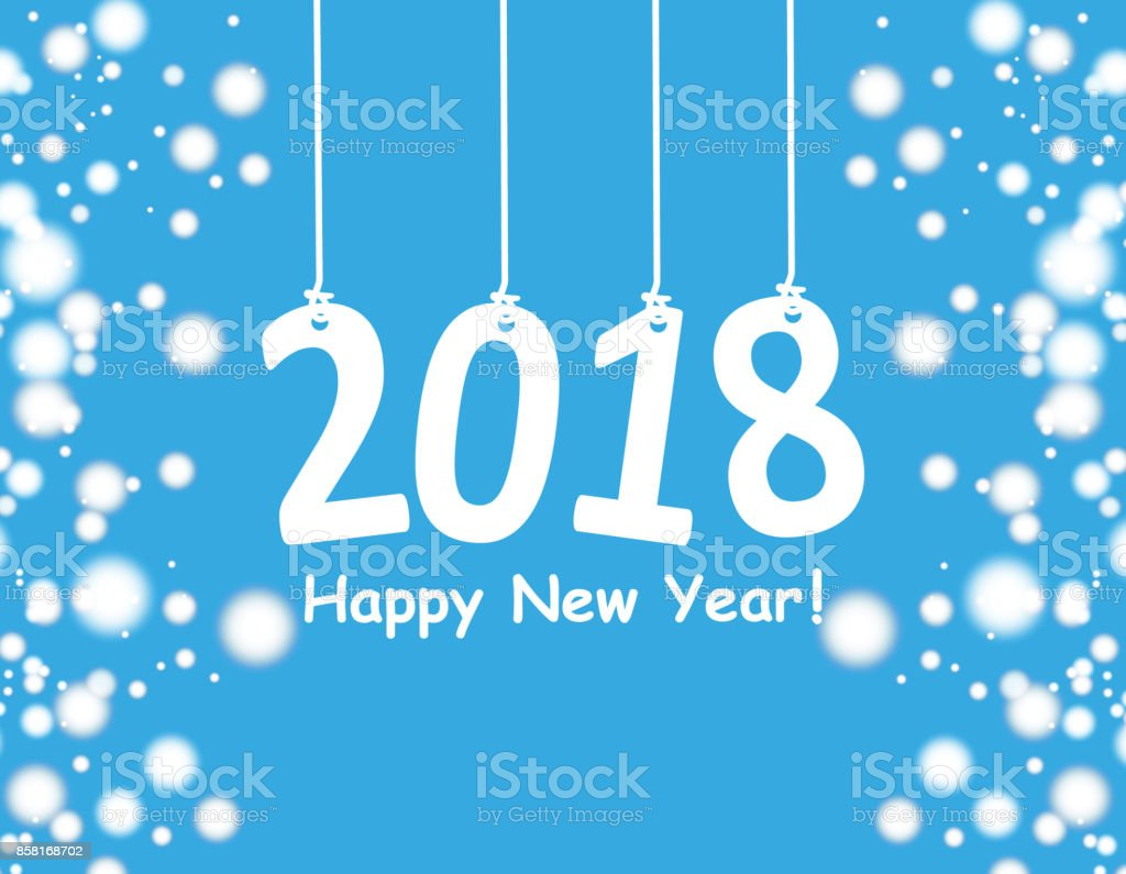 Happy New Year 2018 Background With Snowman And Snow Vector