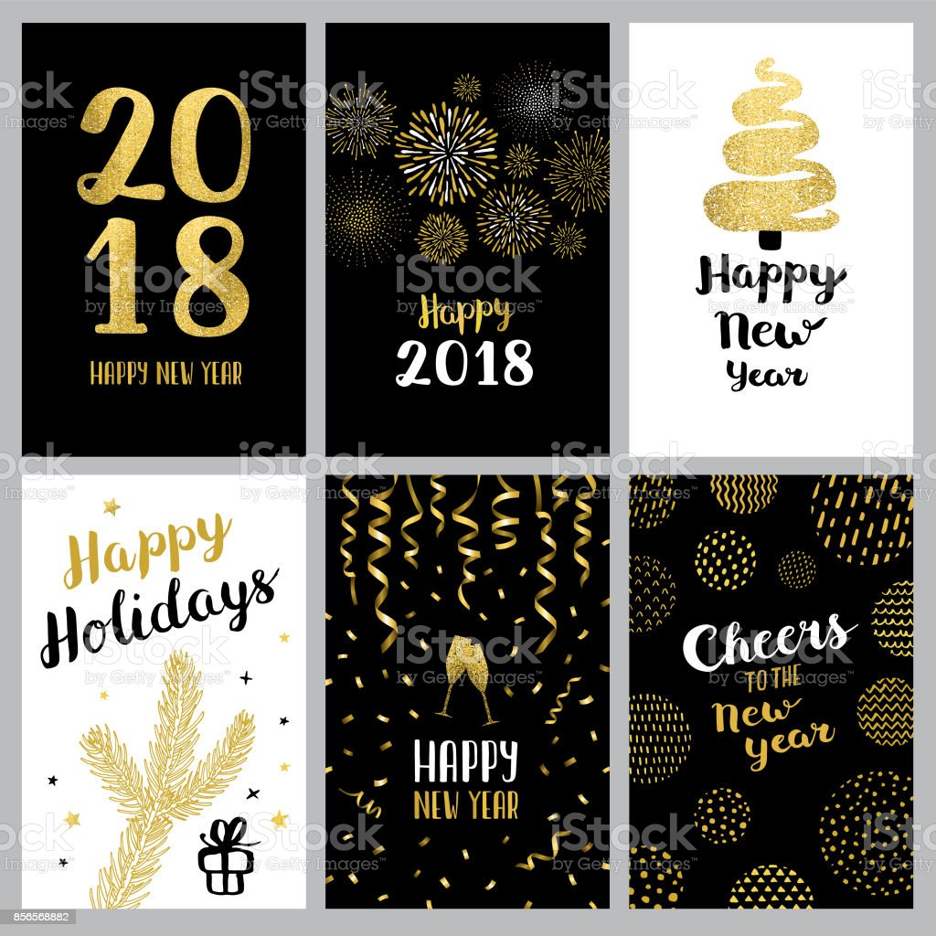 Happy new year 2018 banners vector art illustration