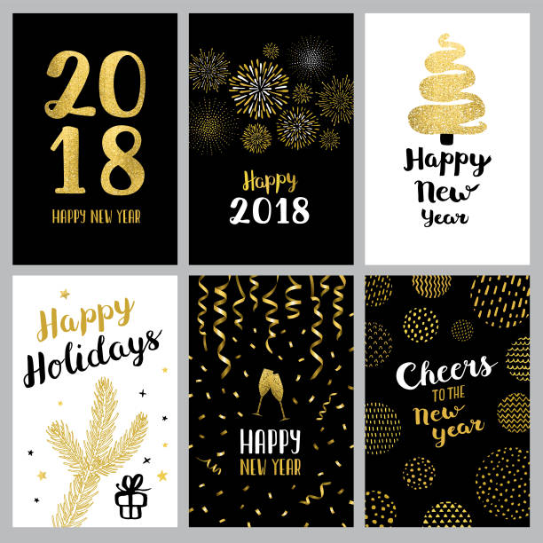 happy new year 2018 banners - new years eve stock illustrations, clip art, cartoons, & icons