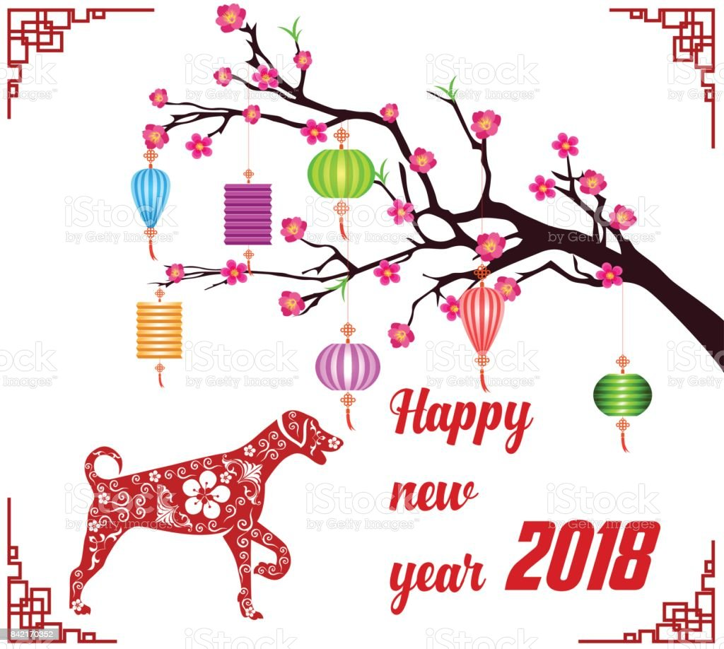 Happy New Year 2018 Pinsel Feier Chinese New Year Of The Dog ...