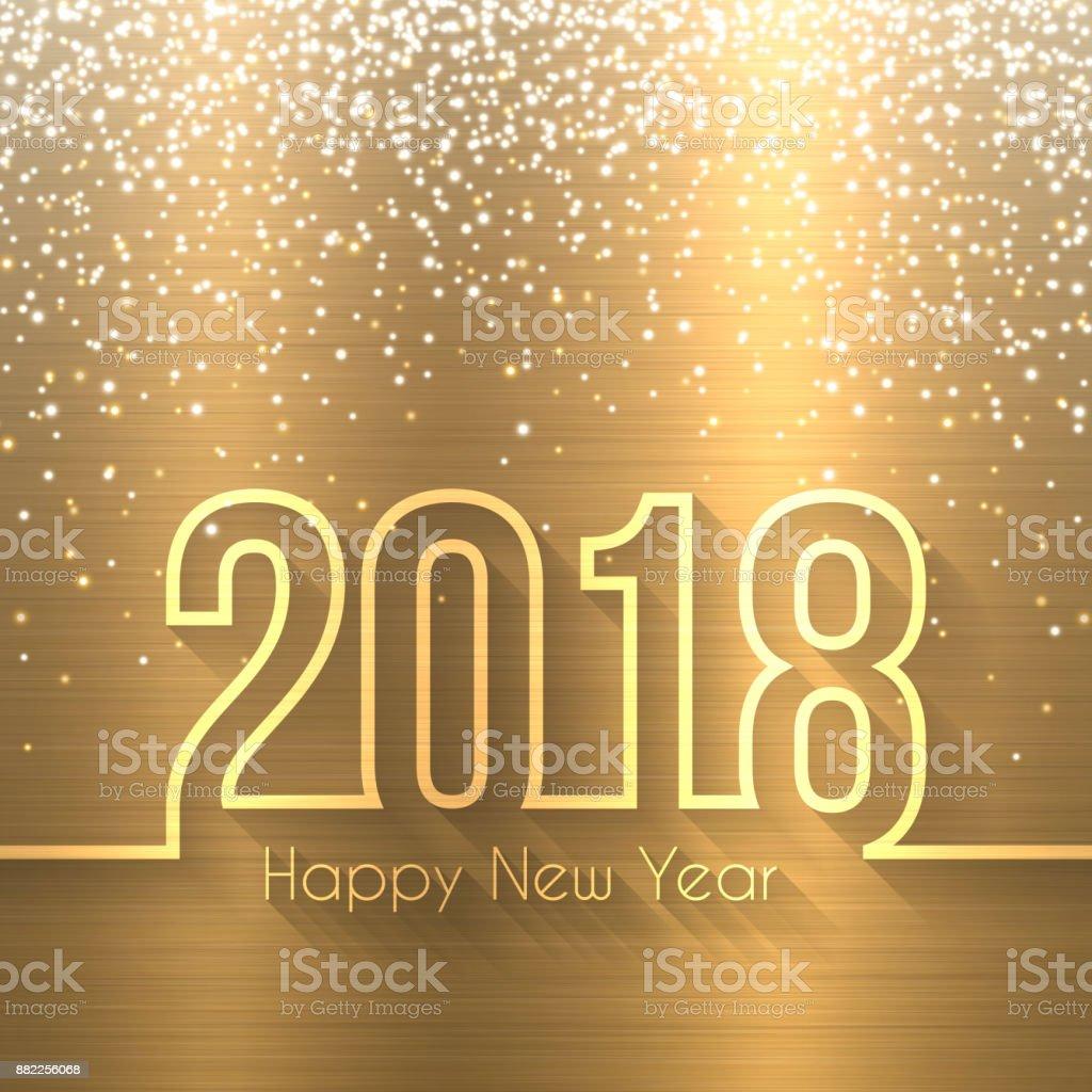 Happy new year 2018 - Brushed Metal Texture (Bronze, Copper) vector art illustration