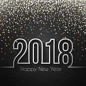 Happy new year 2018  with gold glitter and space for your text. Creative greeting card with a carbon fiber background. The layers are named to facilitate your customization. Vector Illustration (EPS10, well layered and grouped). Easy to edit, manipulate, resize or colorize. Please do not hesitate to contact me if you have any questions, or need to customise the illustration. http://www.istockphoto.com/portfolio/bgblue