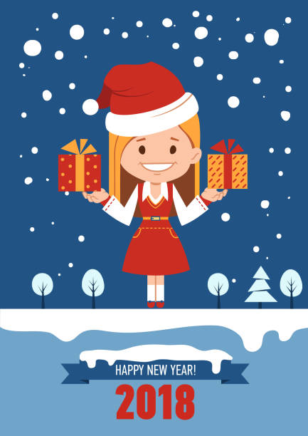 Happy New Year 2018 Card Greeting With Santa Clause Girl In Christmas