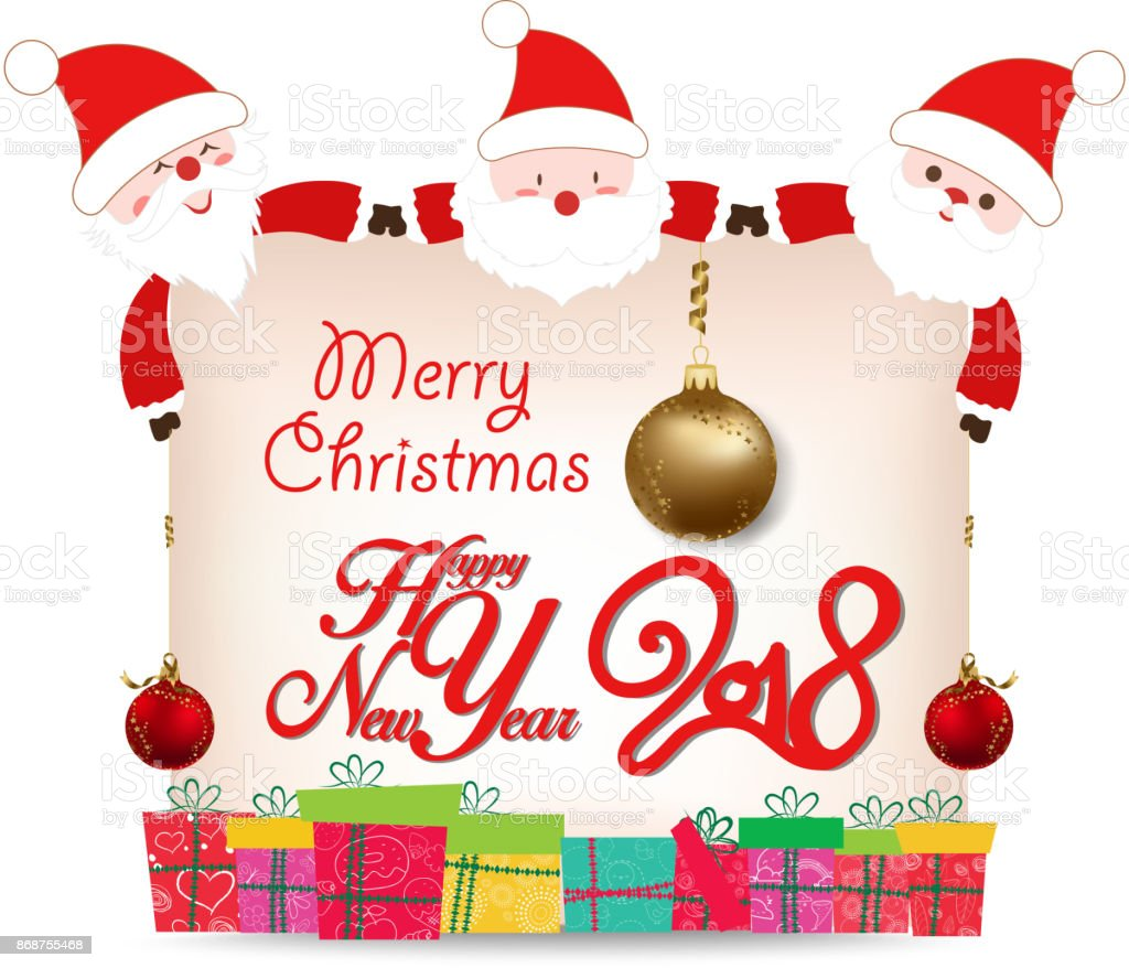 Happy New Year 2018 Card Santa Claus Greeting Card Stock Vector Art
