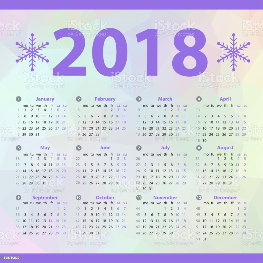Happy New year 2018 celebration European calendar with snowflakes. vector art illustration