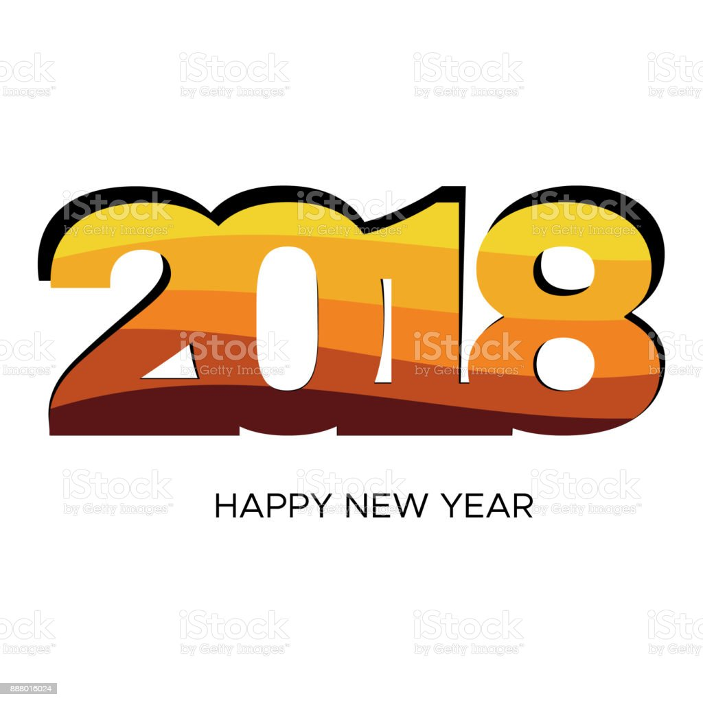 happy new year 2018 colorful label on white background royalty free happy new year