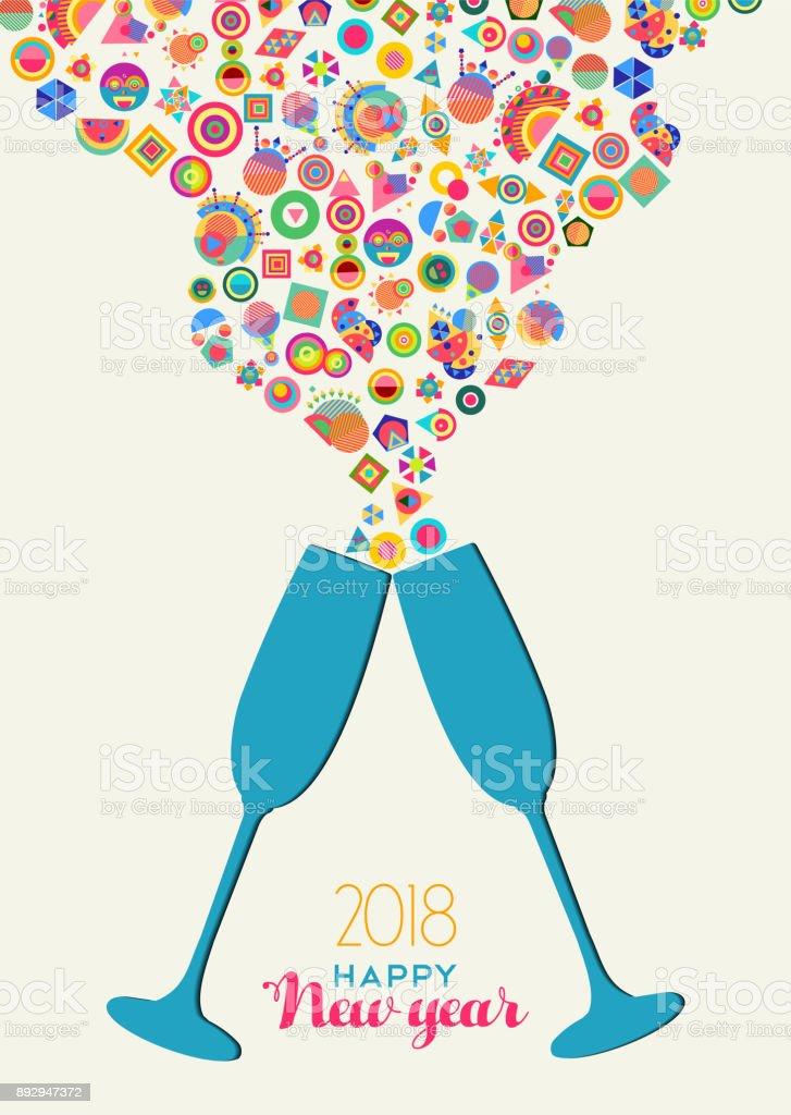 Happy New Year 2018 Colrful Party Toast Splash Stock Vector Art ...