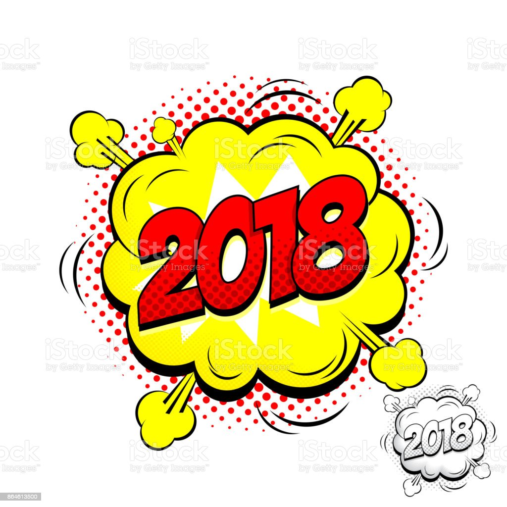 happy new year 2018 comic speech bubble label royalty free happy new year 2018 comic