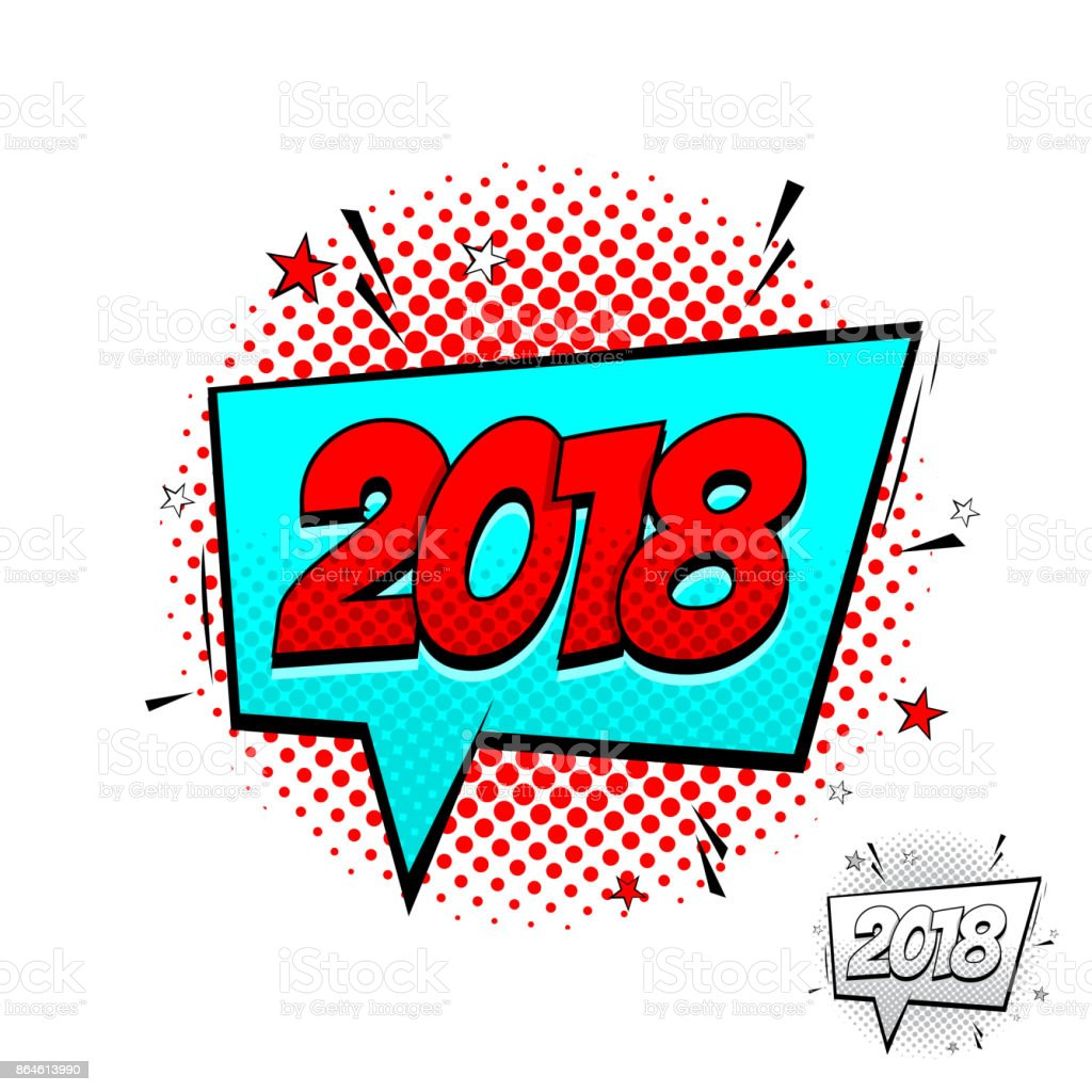 happy new year 2018 comic speech bubble template stock vector art