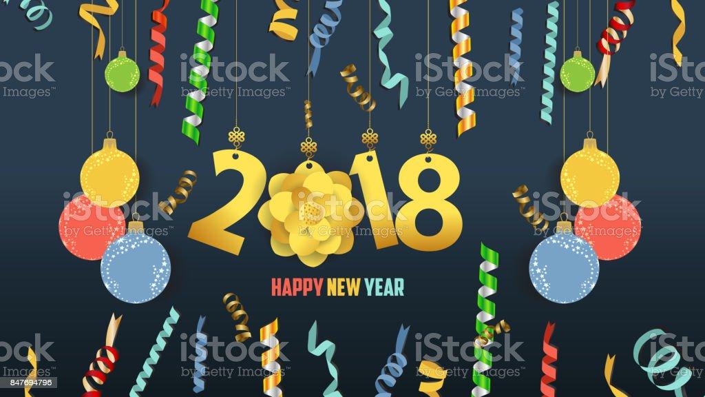Frohes Neues Jahr 2018 Konfetti Und Gold Uhr Fest Farbenfrohe ...
