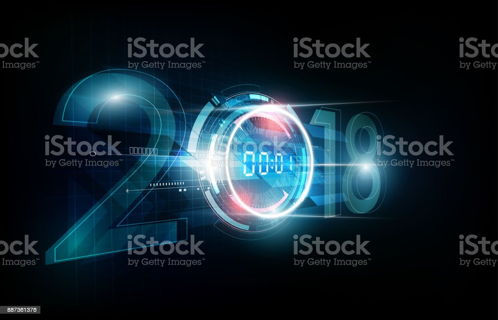 happy new year 2018 digital clock futuristic background vector illustration royalty free happy