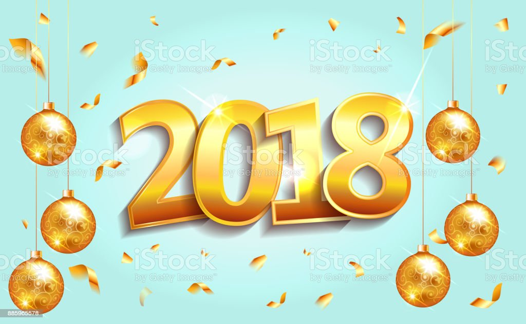 Happy New Year 2018 Elegant Blue Background Template With Gold Christmas  Balls And Confetti With A